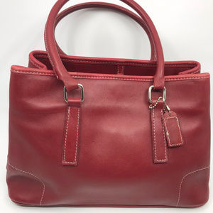 COACH M Red Leather Shoulder Bag